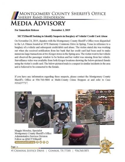 Authorities Looking For Help Identifying Theft Suspects